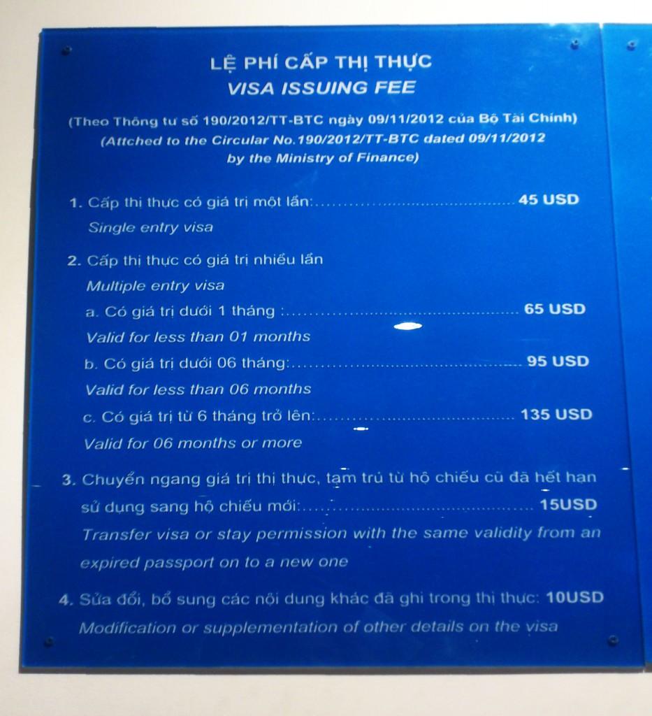 Расценки на визы в международном аэропорту в Сайгоне