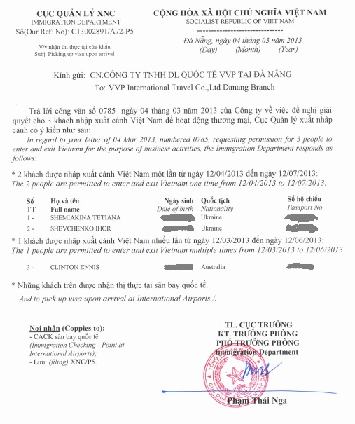 Approval letter vietnam