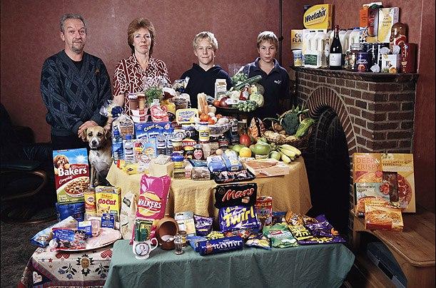 Великобритания: семья Байтон из Cllingbourne Ducis Расходы на продукты питания в течение одной недели: 155,54 брит. фунтов или $ 253,15 Любимые блюда: авокадо, майонез бутерброд, коктейль из креветок, шоколадный торт со сливками