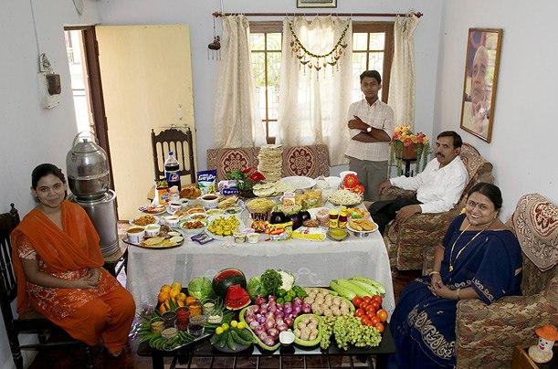 Индия: семья Паткарс из Удджайн Расходы на продукты питания в течение одной недели: 1,636.25 рупий или $ 39,27 Семейный рецепт: Poha Сангиту Patkar (в рисовых хлопьях)