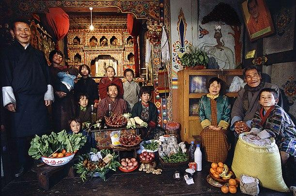 Бутан: семья Намгей, Shingkhey деревня Расходы на продукты питания в течение одной недели: 224,93 Нгултрум или $ 5,03 Семейный рецепт: грибы, сыр и свинина