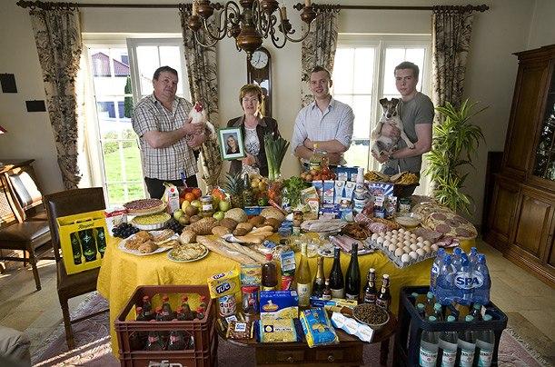 Люксембург: семья Кутен-Казесс из Erpeldange Расходы на продукты питания в течение одной недели: 347,64 евро, или $ 465,84 Любимые блюда: креветки пиццы, курица в винном соусе, турецкий кебаб