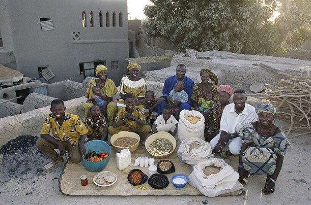 Мали: семья Натомосы из Kouakourou Расходы на продукты питания в течение одной недели: 17 670 франков, или $ 26,39 Семья Рецепт: Natomo семьи блюдо из риса