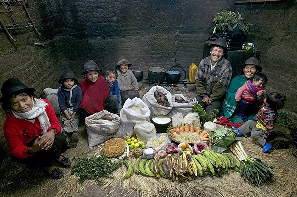 Эквадор: семья Аймэ,Тинго Расходы на продукты питания в течение одной недели: $ 31,55 Семья рецепт: картофельный суп с капустой