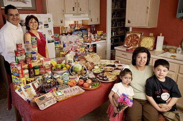 США: семья Фернандес из Техаса Расходы на продукты питания в течение одной недели: $ 242,48 Любимые блюда: креветки с соусом Альфредо, курица мол, барбекю ребрышки, пицца