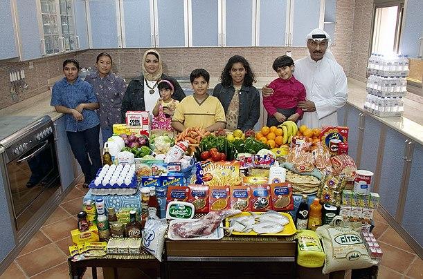 Кувейт: семья Ал Хаган, Эль-Кувейте Расходы на продукты питания в течение одной недели: 63,63 динара или $ 221,45 Семейный рецепт: Куриные Biryani с рисом басмати