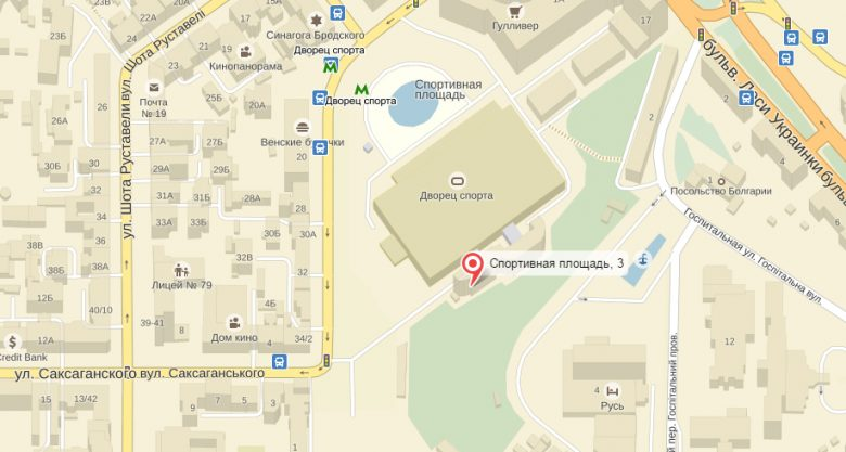 Карта, где находится посольство Таиланда в Киеве