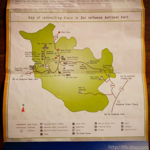 Map of Doi Inthanon, Chiang Mai, Thailand