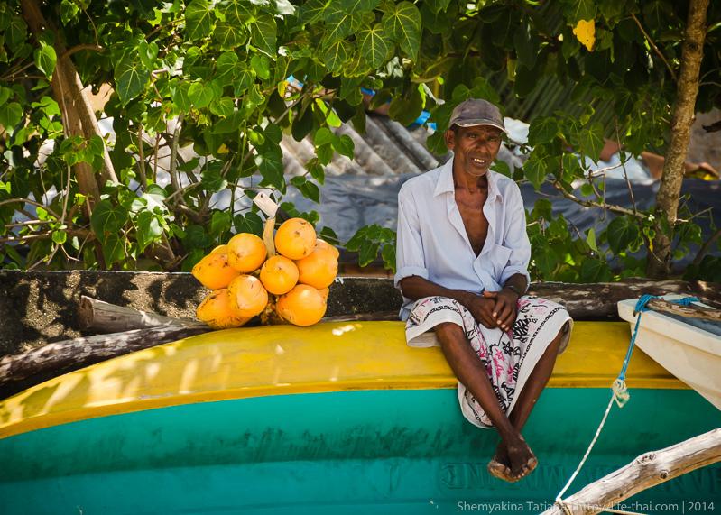 Старик на лодке, Шри Ланка