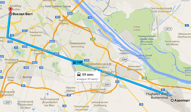 Карта из аэропорта Швехат в Вену