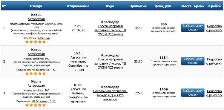 """Билеты на автобус """"Керчь- Карснодар"""""""