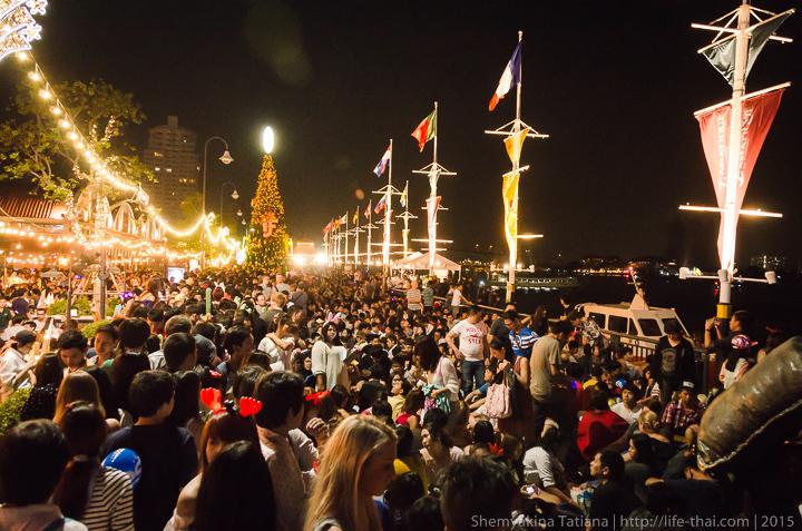 Новый год, толпа народа, Бангкок, Таиланд