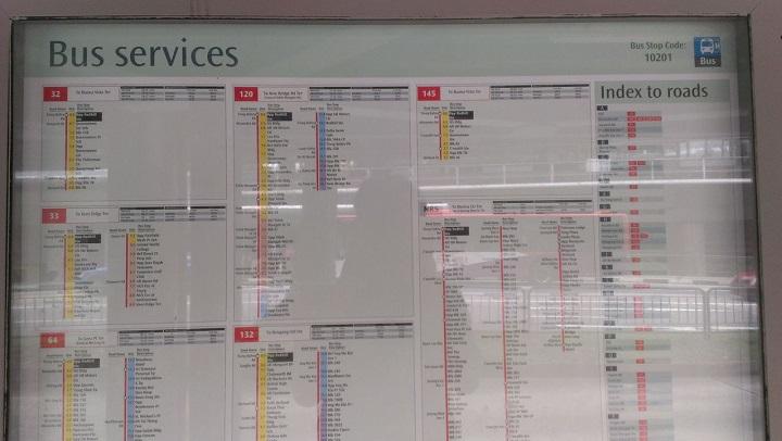 Расписание автобусов, остановка, Сингапур