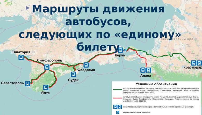 Маршруты движения автобусов по единому билету в Крым