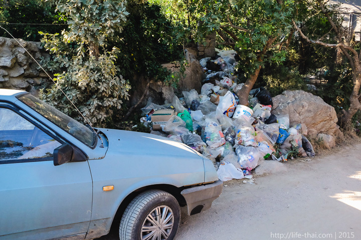 Горы мусора, Мыс Айя, бухта Батилиман, Крым