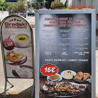 Сколько стоит еда в Черногории