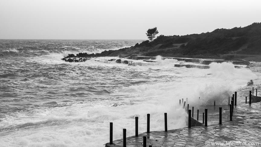 Шторм на пляже Плоче, Черногория
