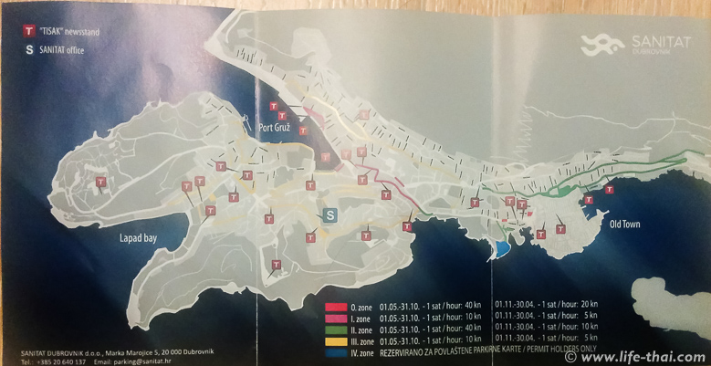 Парковки в Дубровнике, цены и зоны
