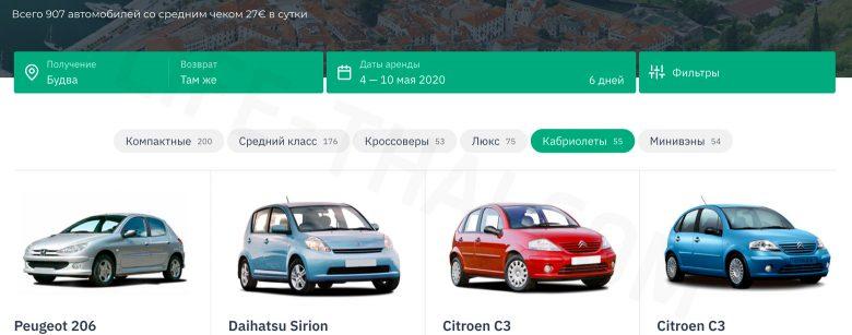 Инструкция как забронировать машину в Черногории