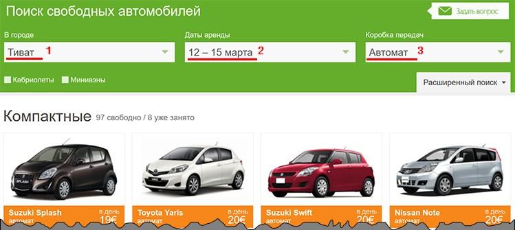 Как забронировать машину в Черногории, инструкция