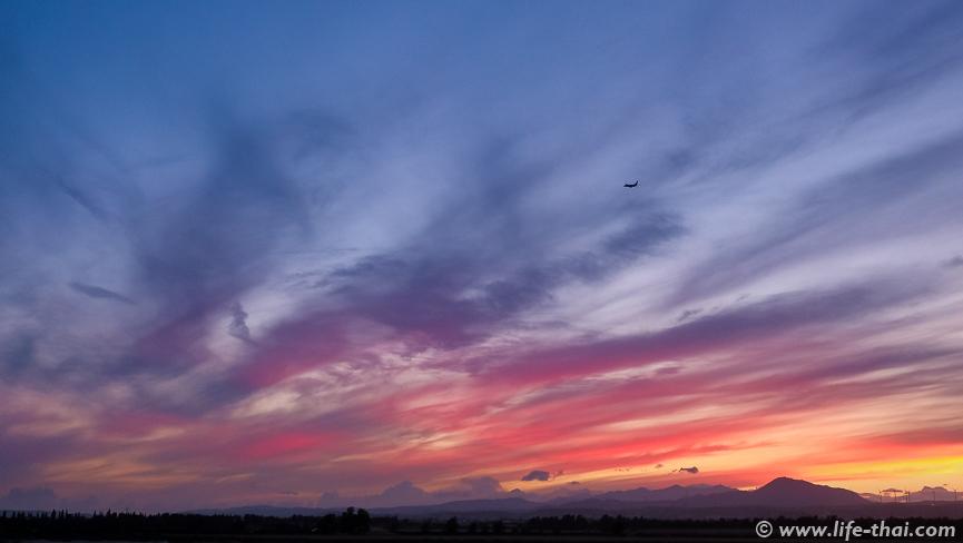 Самолёт, Закат на Кипре, фото