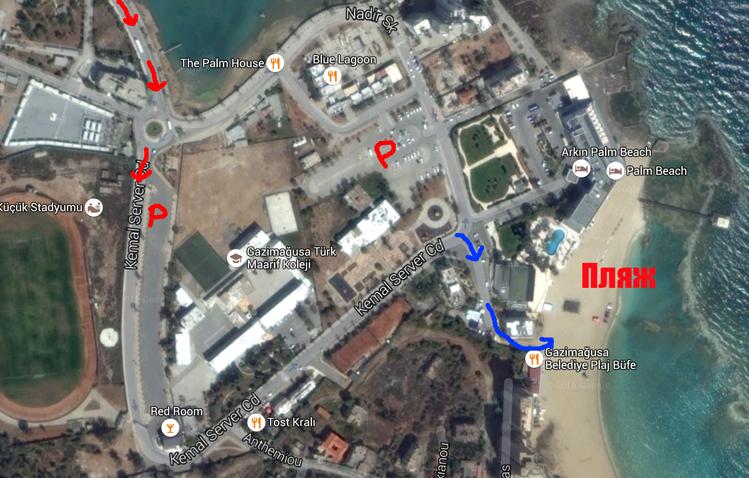 Карта как добраться к Вароше на Северном Кипре