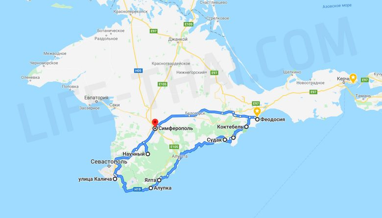 Маршрут путешествия по Крыму на машине
