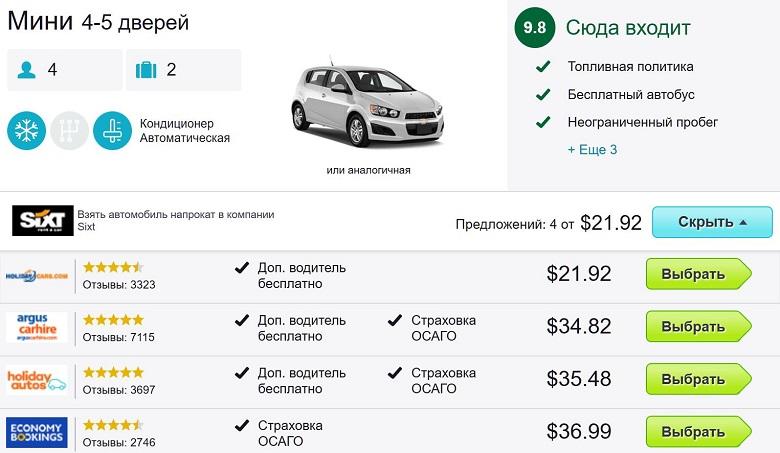 Цены на аренду машин в Таиланде у скайсканер