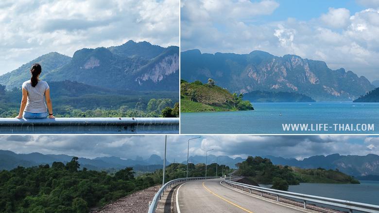 Вид на озеро Чео Лан с дамбы, Као Сок, Таиланд