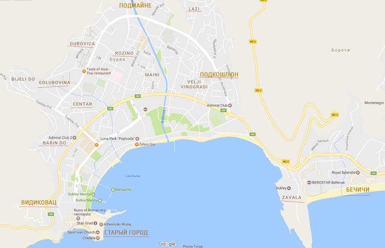 Районы Будвы на карте