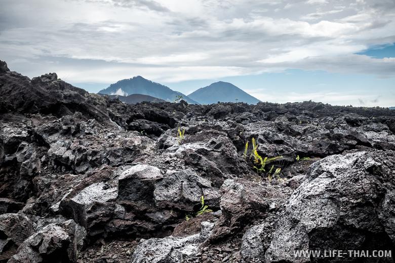 Вулкан Батур и застывшая лава - Агунг и Абанг, Индонезия