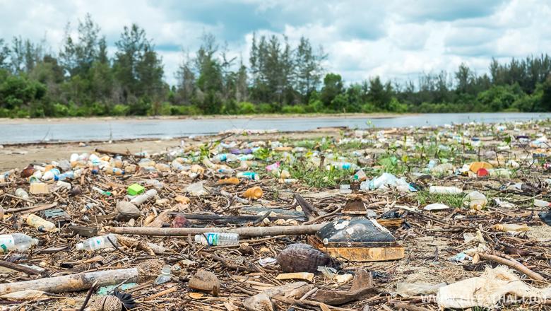 Мусор на диком пляже, вынесенный рекой. Борнео, Малайзия