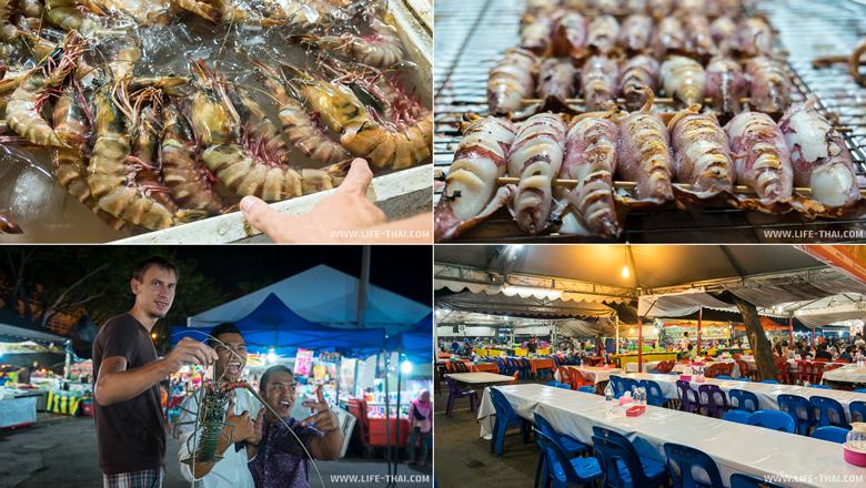 Ночной рынок с морепродуктами в Кота-Кинабалу, Малайзия