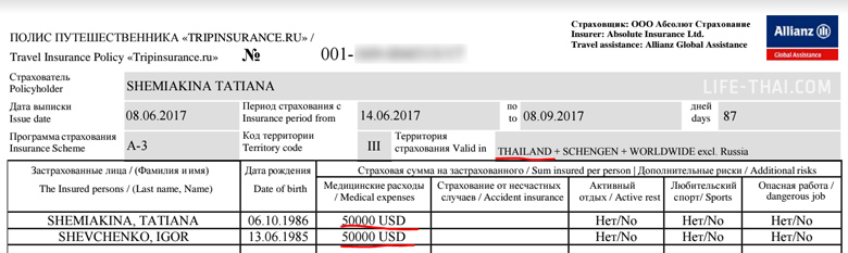 Международный страховой полис от страховой компании Tripinsurance