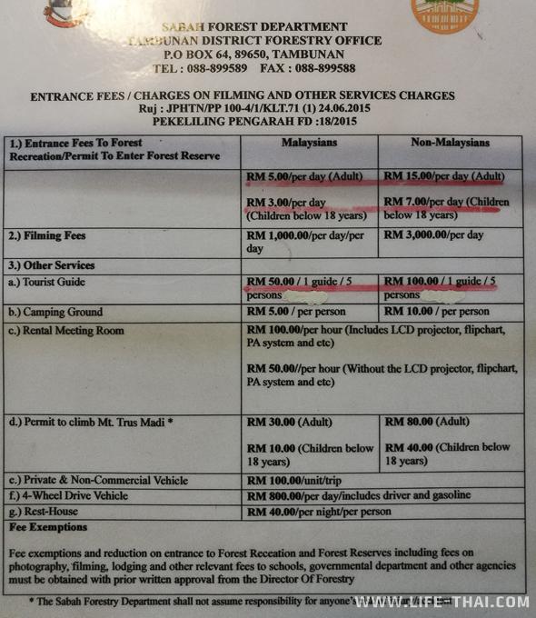 Расценки на вход в центр Раффлезии