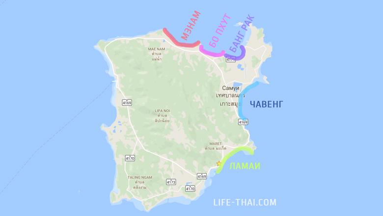 Карта пляжей Самуи, где лучше арендовать жильё надолго