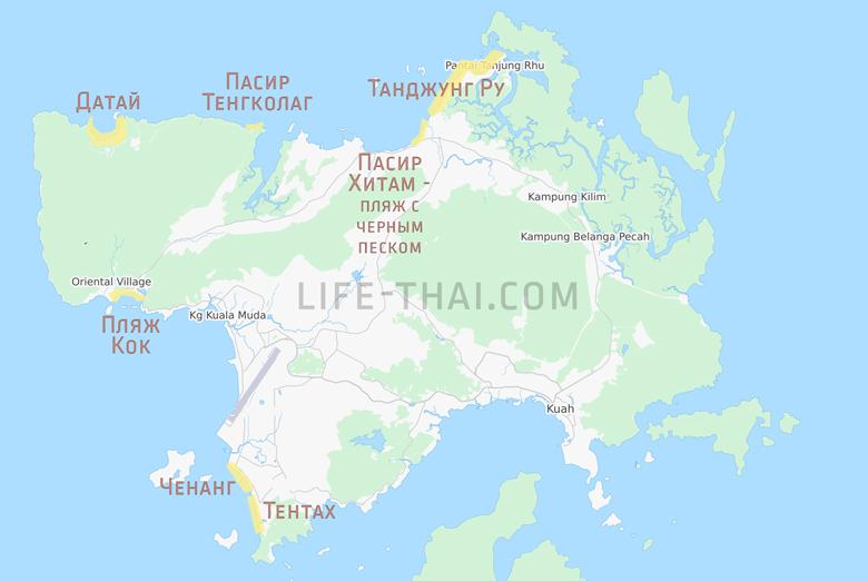Пляжи Лангкави на карте