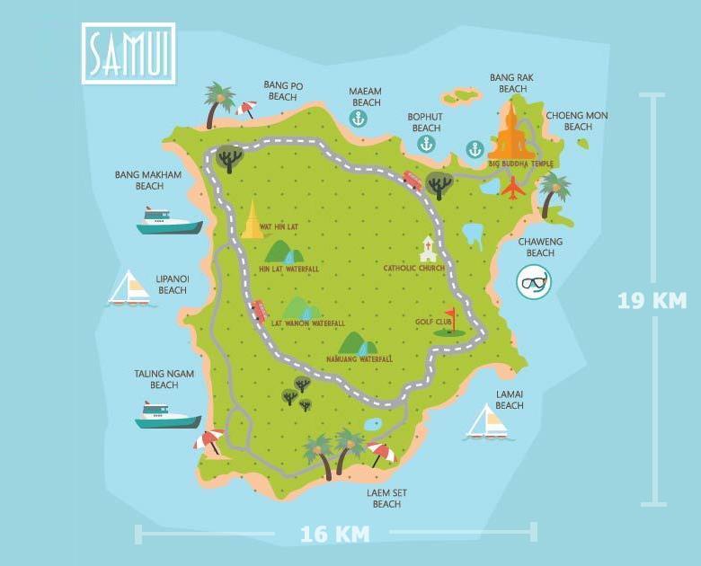 Пляжи Самуи на карте