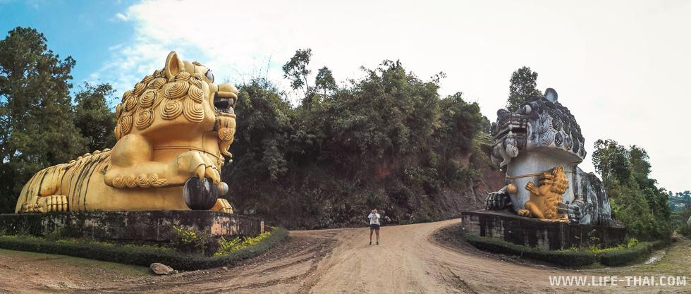 Панорама входа со львами фу