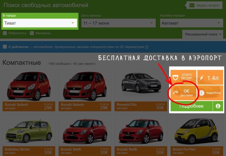 Бесплатная доставка машины в аэропорт Тиват/Подгорица в Черногории
