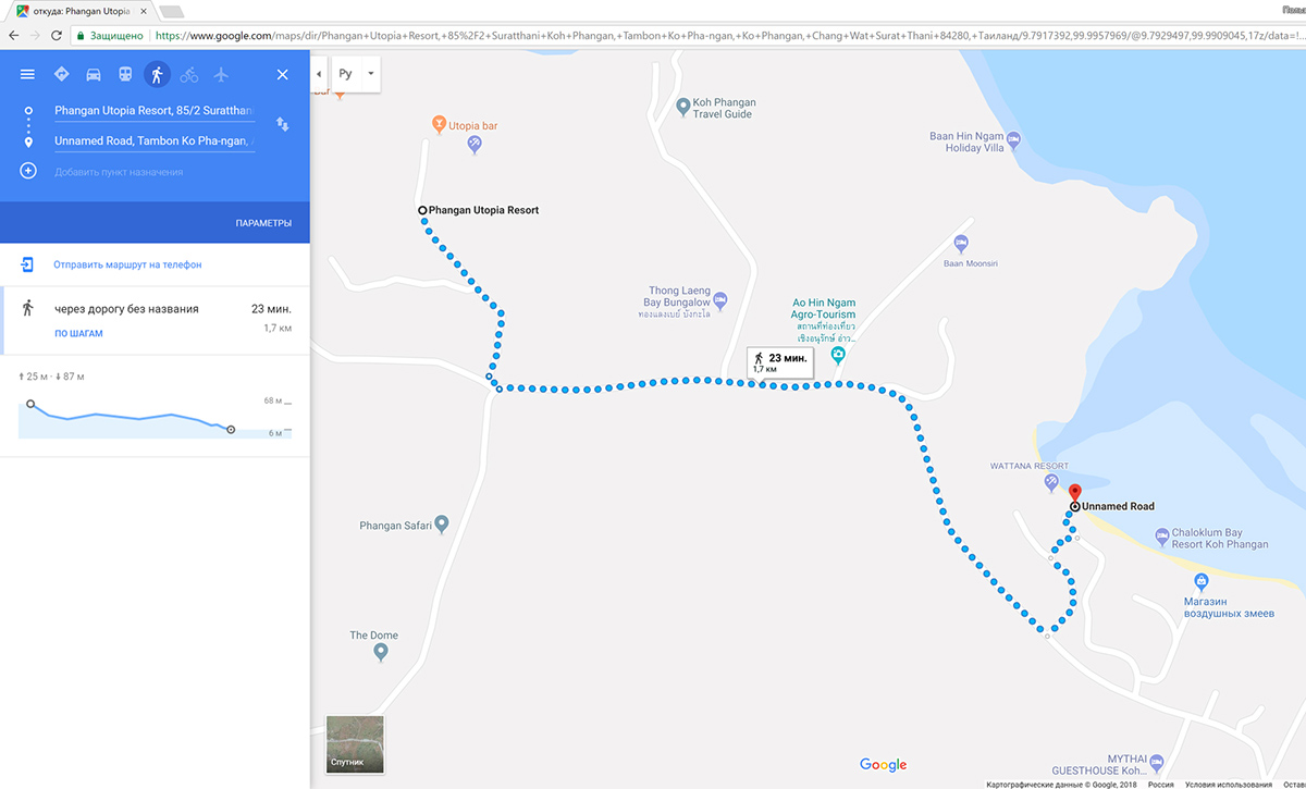 Карта, как дойти из Утопия Резорт до пляжа Чалоклам