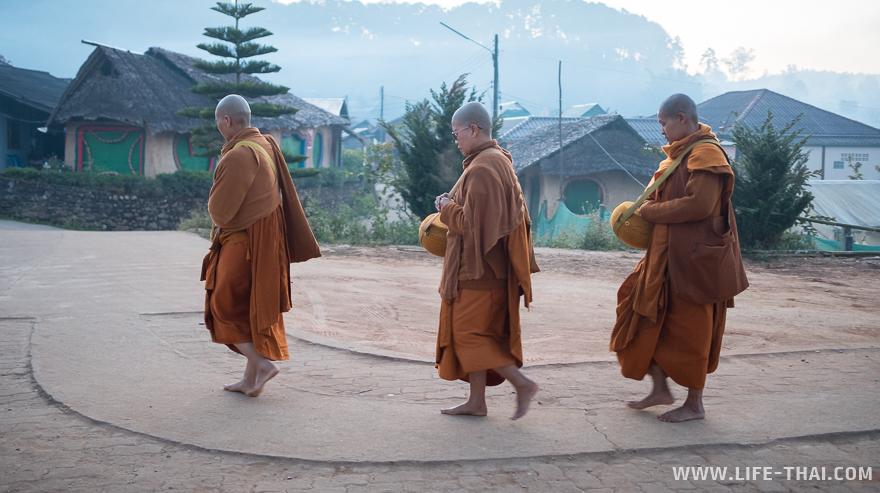 Монахи на рассвете идут собирать подаяния