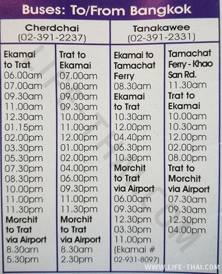 Расписание автобусов из Бангкока в Трат
