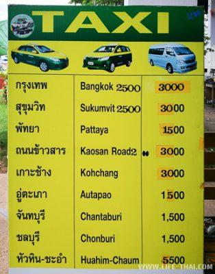 Цены на такси из Бан Пхе в Бангкок, Паттайю, аэропорты, ко Чанг