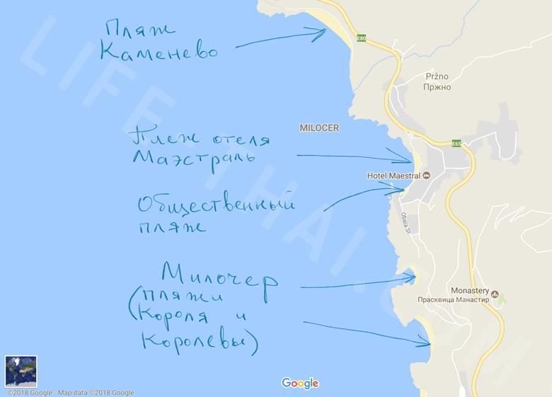 Карта пляжей в Пржно