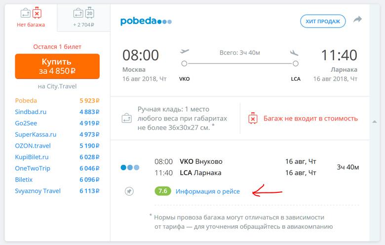 Поиск авиабилетов Москва Кипр авиакомпания Победа