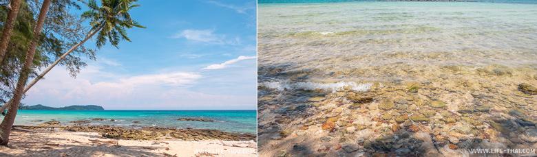 Каменистое дно в южной части пляжа Ао Тапао
