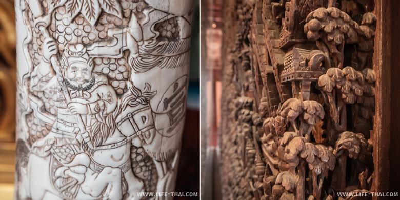 Резьба по дереву и на слоновьей кости в парке Ancient Siam в Бангкоке
