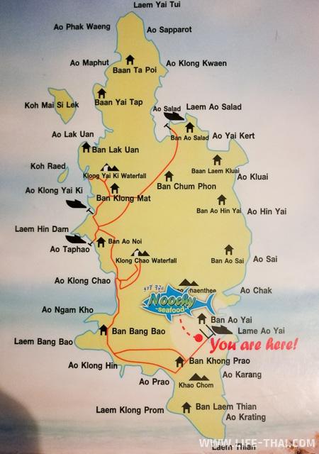Пляжи ко Куда на карте