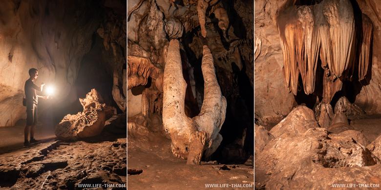 Сталактиты и сталагмиты в пещере Тхам Чианг Дао